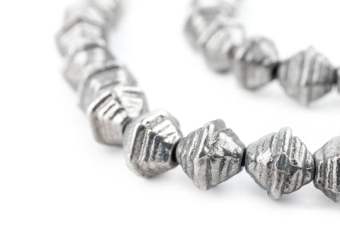 Image of Striped Dark Silver Bicone Beads (9mm) - The Bead Chest
