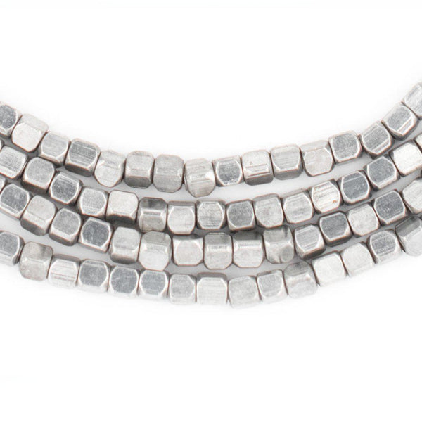 Rounded Silver Cube Beads (3mm) - The Bead Chest