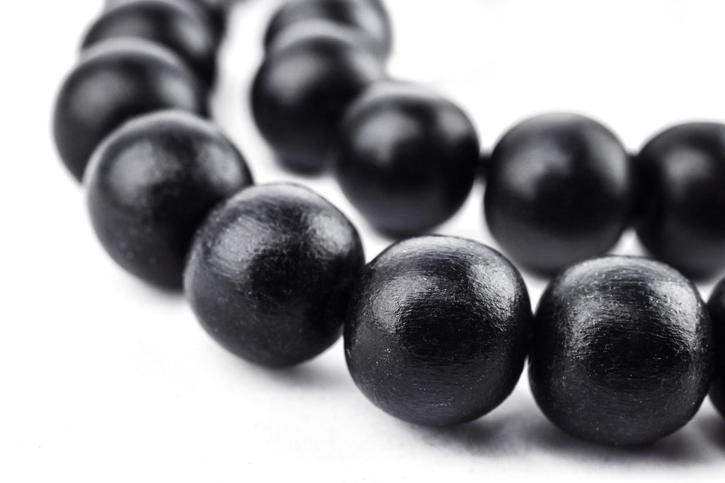 Black Round Natural Wood Beads (12mm) - The Bead Chest