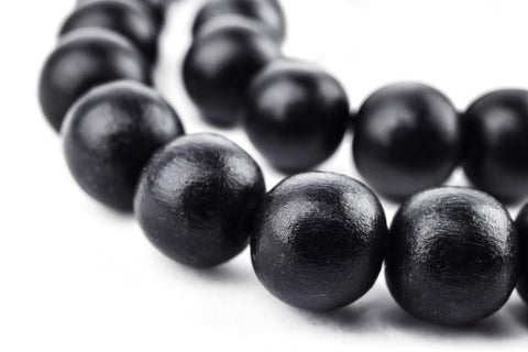 Image of Black Round Natural Wood Beads (12mm) - The Bead Chest