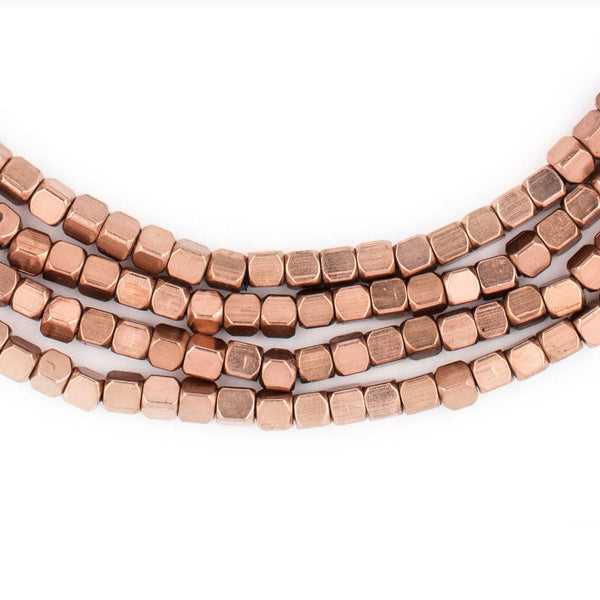 Rounded Copper Cube Beads (3mm) - The Bead Chest