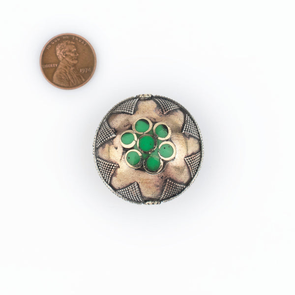 Bright Green Round Inlaid Afghani Brass Bead Pendant