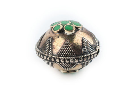 Image of Bright Green Round Inlaid Afghani Brass Bead Pendant (36x28mm) - The Bead Chest
