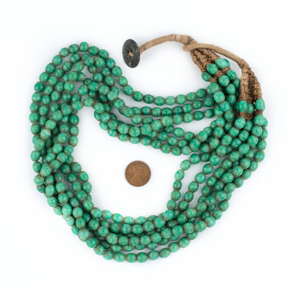 Green Aqua Naga Bead Necklace