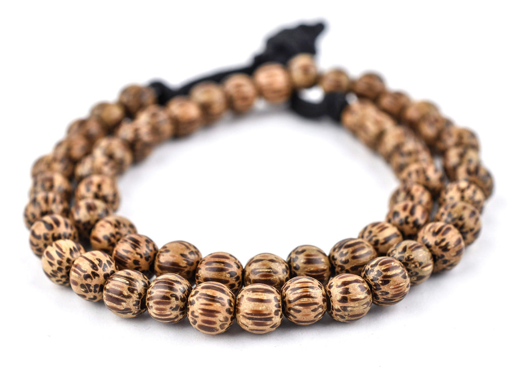 Round Natural Palm Wood Beads (8mm) - The Bead Chest