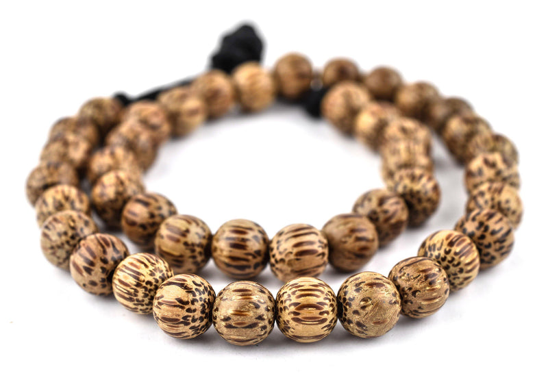 Round Natural Palm Wood Beads (10mm) - The Bead Chest