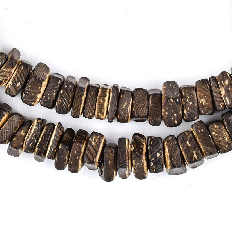 Dark Brown Coconut Shell Square Heishi Beads (8mm) - The Bead Chest