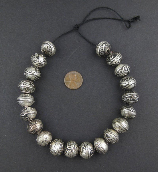 Fancy Ethiopian White Metal Bicone Beads (14x16mm)