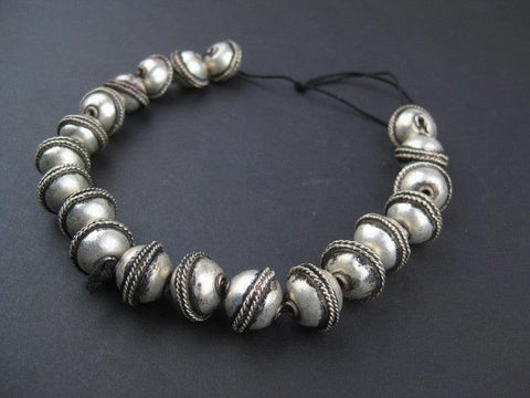Image of Ethiopian Artisanal White Metal Bicone Beads (15x19mm) - The Bead Chest