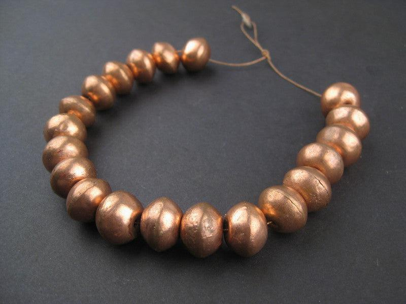 Copper Bicone Artisanal Ethiopian Beads (12x17mm) - The Bead Chest