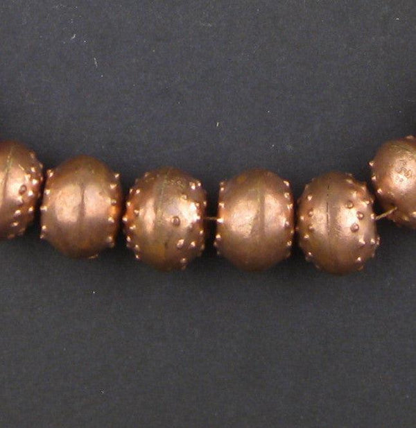Patterned Copper Artisanal Ethiopian Bicone Beads (12x16mm) - The Bead Chest