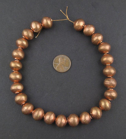 Round Copper Artisanal Ethiopian Beads (12x14mm) - The Bead Chest