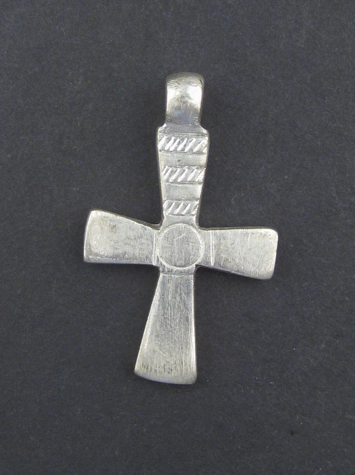 Silver Engraved Ethiopian Cross Pendant (Circle & Stripe) - The Bead Chest