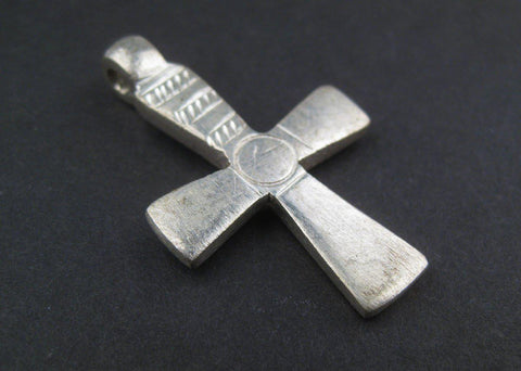 Image of Silver Engraved Ethiopian Cross Pendant (Circle & Stripe) - The Bead Chest