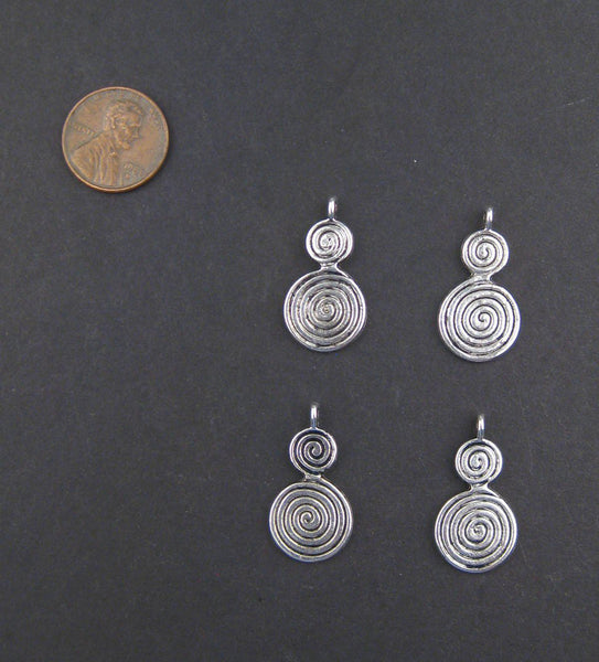 Small Berber Spiral Silver Niello Pendants (Set of 4)
