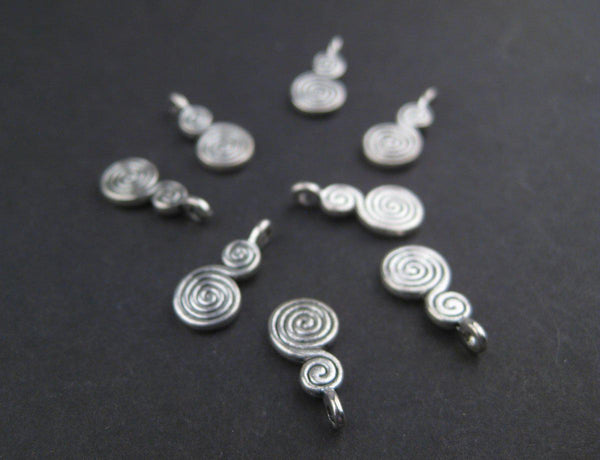 Miniature Berber Spiral Silver Niello Pendants (Set of 8) - The Bead Chest