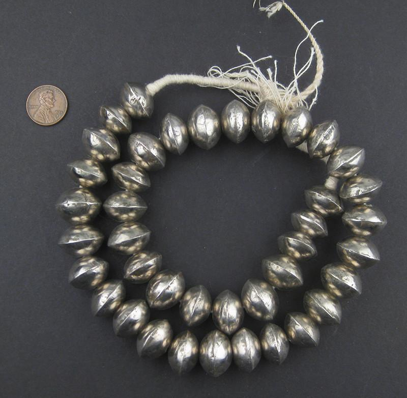 Mali Silver Bicone Beads (12x19mm) - The Bead Chest