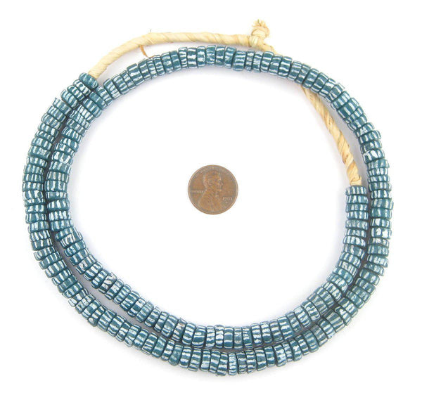 Aja Style Sliced Teal Krobo Beads (9mm) - The Bead Chest
