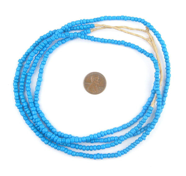 Brilliant Blue Ghana Glass Beads (2 Strands)