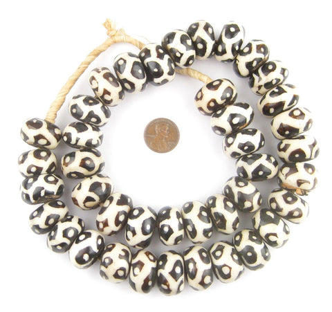 Cheetah Design Batik Bone Beads (Large) - The Bead Chest