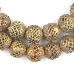 Weaved Brass Filigree Globe Beads (17mm) - The Bead Chest
