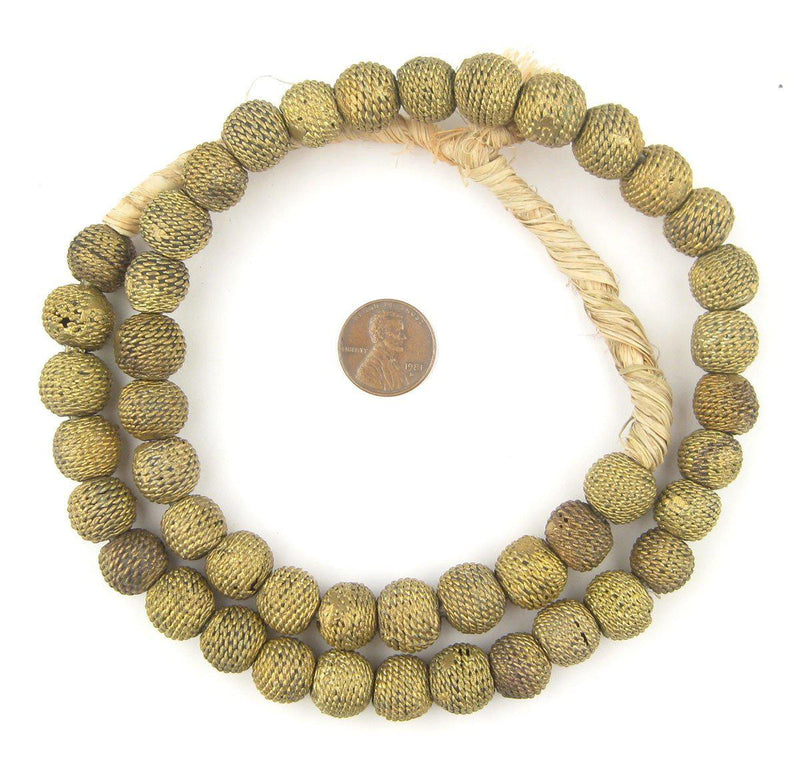 Woven Round Ghana Brass Filigree Beads (14mm) - The Bead Chest