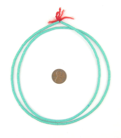 Turquoise Vinyl Phono Record Beads (3mm) - The Bead Chest