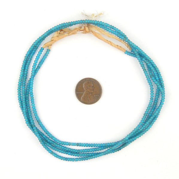 Tiny Turquoise White Heart Seed Beads (2mm)