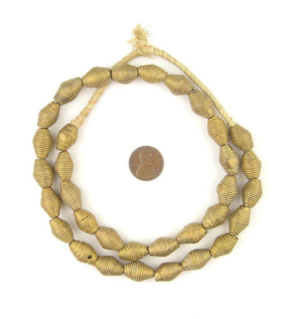 Wound Bicone Ghana Brass Beads (17x11mm) - The Bead Chest