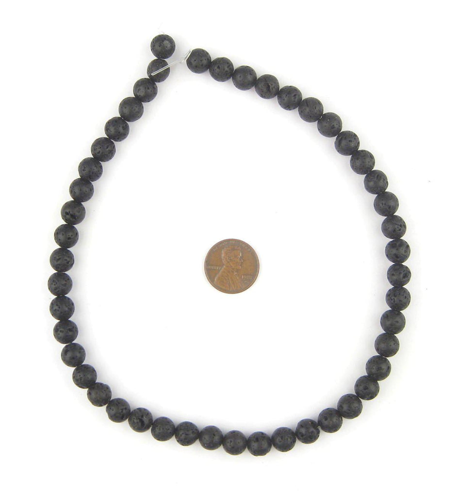 Charcoal Black Volcanic Stone Beads (8mm) - The Bead Chest