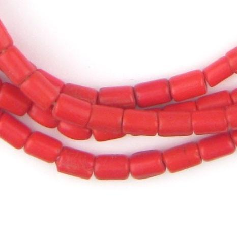 Vintage Red Czech Glass Cylinder Beads - The Bead Chest