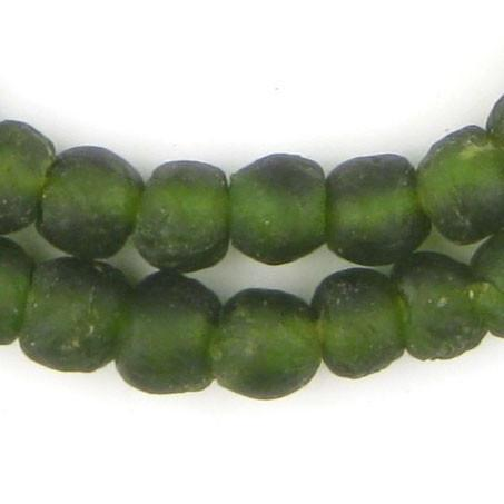 Forest Green Recycled Glass Beads (11mm) - The Bead Chest