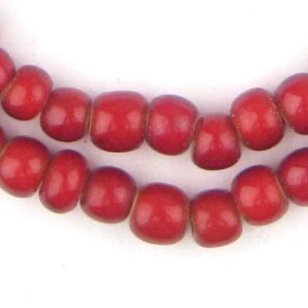 Image of Super Jumbo Padre-Sized Cranberry White Heart Beads (9mm) - The Bead Chest