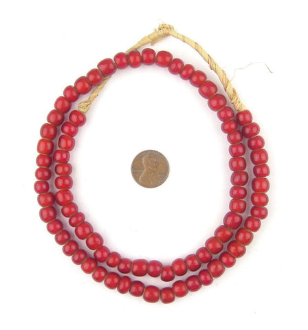 Super Jumbo Padre-Sized Cranberry White Heart Beads (9mm) - The Bead Chest