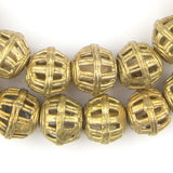Caged-Bicone Brass Filligree Beads (13x15mm)