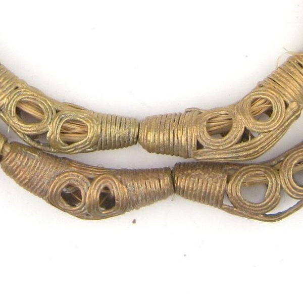 Eye Design Brass Filigree Elbow Beads (42x12mm) - The Bead Chest