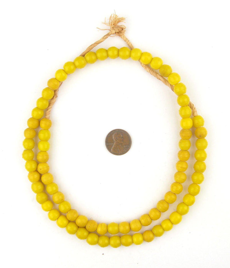 Sunflower Yellow Round Nigerian Olombo Padre Beads - The Bead Chest