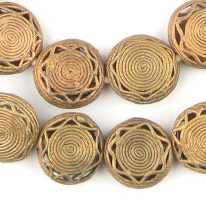 Circular Star Ghana Brass Filigree Beads (24mm) - The Bead Chest