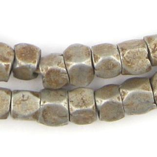 Old Ethiopian Faceted Aluminum Cube Beads - The Bead Chest
