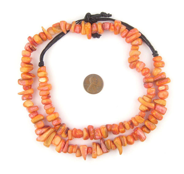 Amber Orange Moroccan Shell Chunk Beads - The Bead Chest