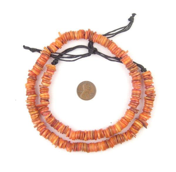 Amber Orange Moroccan Heishi Shell Beads - The Bead Chest