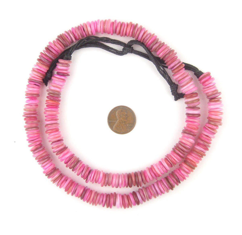 Tulip Pink Moroccan Heishi Shell Beads - The Bead Chest
