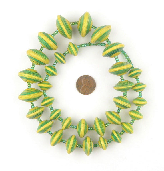 Yellow and Green Recycled Paper Beads from Uganda (Large)