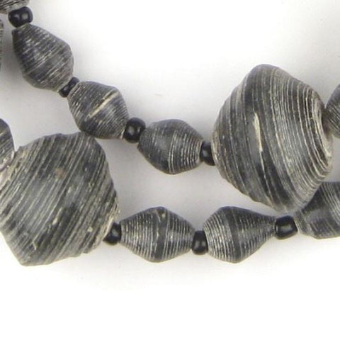 Black Recycled Paper Beads from Uganda (Large) - The Bead Chest