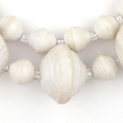 White Recycled Paper Beads from Uganda (Large) - The Bead Chest