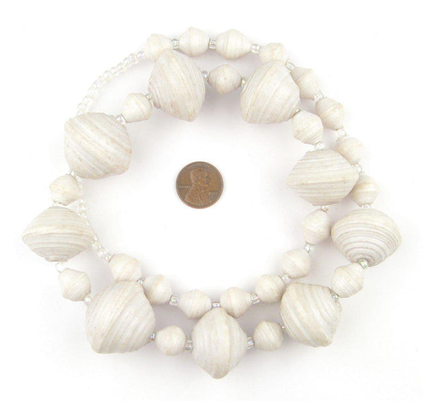 White Recycled Paper Beads from Uganda (Large)