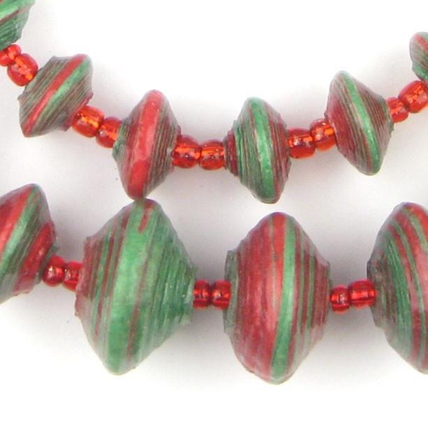Christmas Medley Recycled Paper Beads from Uganda (Large) - The Bead Chest