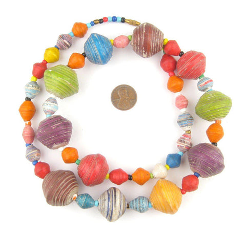 Image of Multicolor Recycled Paper Beads from Uganda (Large) - The Bead Chest