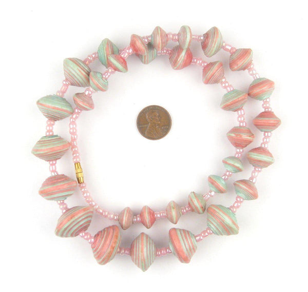 Pastel Medley Recycled Paper Beads from Uganda (Large)