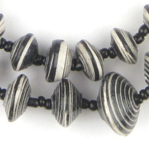 Black and White Stripe Recycled Paper Beads from Uganda (Large) - The Bead Chest